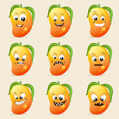Funny mango character showing different facial expressions.