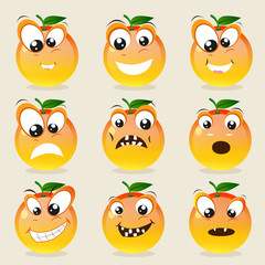 Funny orange character showing different facial expressions.