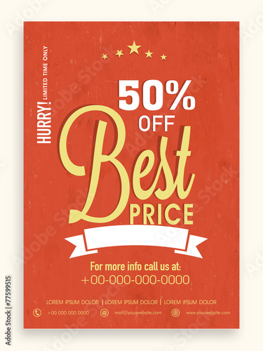 Sale Flyer Template Or Brochure Design With  Discount Offer