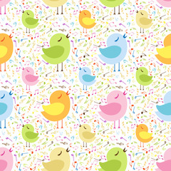Musical pattern with cute birds.