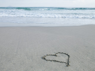 Heart wrote on the beach