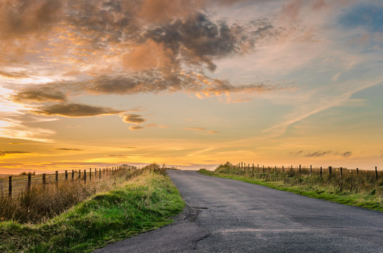 Sunset over a Country Road