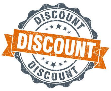 discount orange vintage seal isolated on white