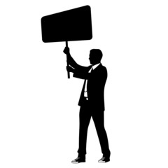 man in suit holding banner vector illustration