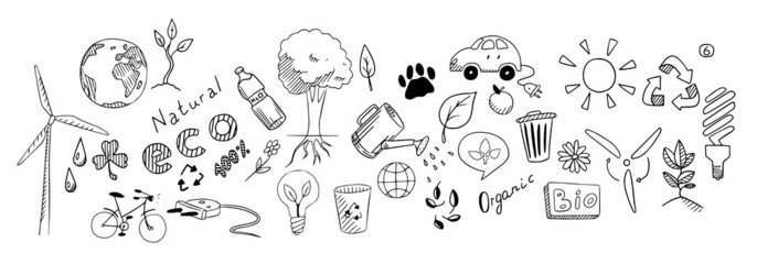 Eco drawing vector set