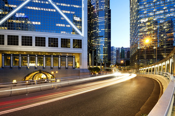 light trails on the modern building background