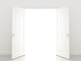 white openind door. Perspective
