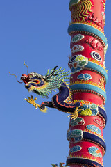 China Dragon Climb up and  entwine around pillar.Background is c
