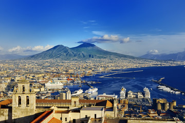 Poster Naples Naples and Vesuvius panoramic view, Napoli, Italy