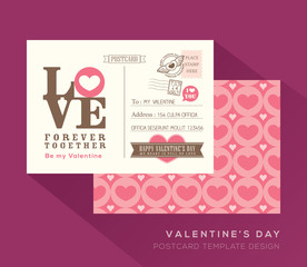 Cute Valentine postcard card design Vector Template