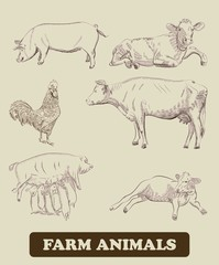 farm animals. vector sketches