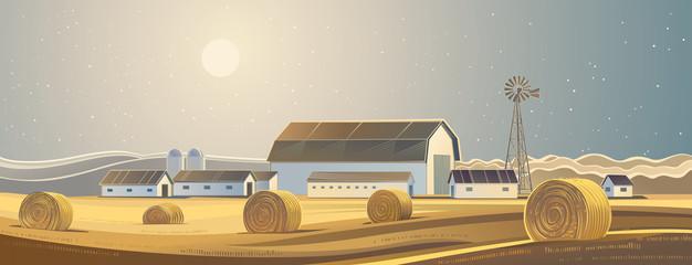 Printed kitchen splashbacks Beige Rural landscape with bales of hay.