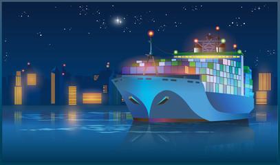 large cargo ship at night