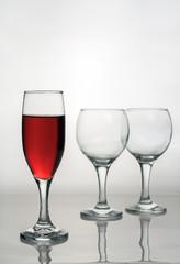 Wine glass of red wine.