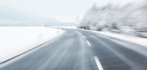 Dangerous blurred winter driving