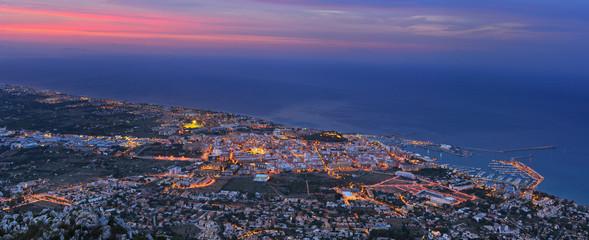 Denia port in twilight