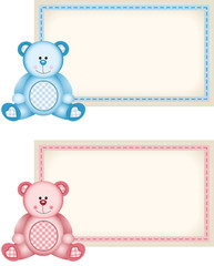 Baby teddy bear pink and blue tag label