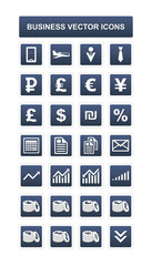 28 blue business icons - vector finance icons set