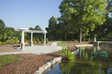 Pavillion and pond in morning light at Como Park