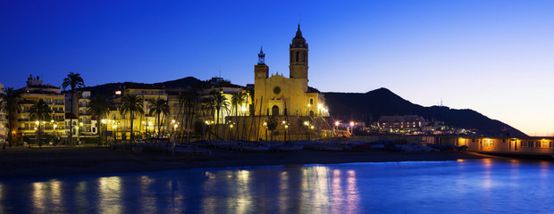 Evening panorama of  Sitges. Spain