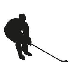 Ice hockey player vector silhouette