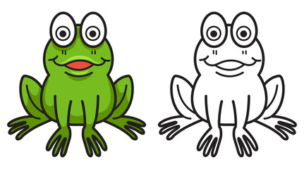 colorful and black and white frog for coloring book