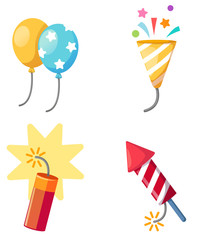Holiday set firecracker,balloon,popper party isolated vector ill