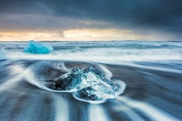 sunrise at Ice beach,  jokulsarlon, Iceland.