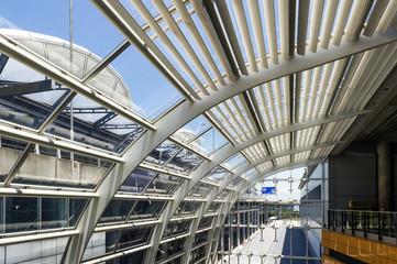 Transparent glass ceiling, modern architectural interior.