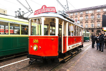 The historic red tram in Turin