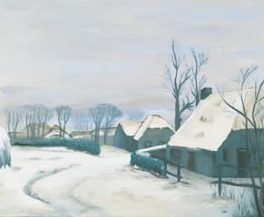 Painting, old farms in a village