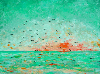 Sunset at the sea, birds in the sky