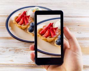 Smartphone shot food photo - dessert with fresh berries