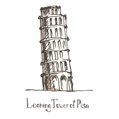 The Leaning Tower, Pisa, Italy, Europe. Sketch.