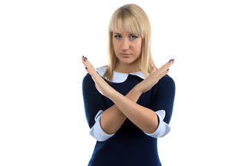 Photo of woman showing stop