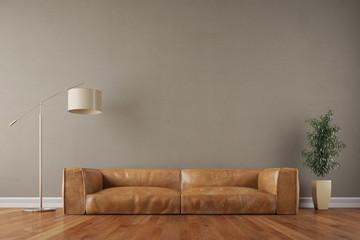 Vintage Sofa vor Wand im Wohnzimmer
