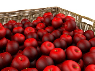 Red apples in rattan basket
