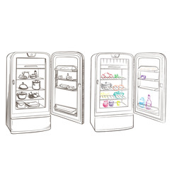 Separate image retro refrigerator with products made in the thum