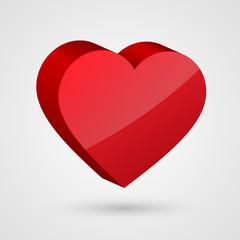 Shiny 3d red heart.