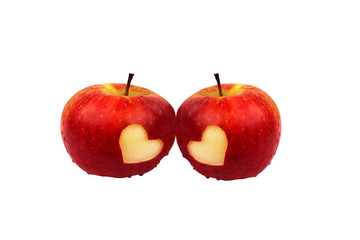 Two apples with hearts on a white background, valentines day