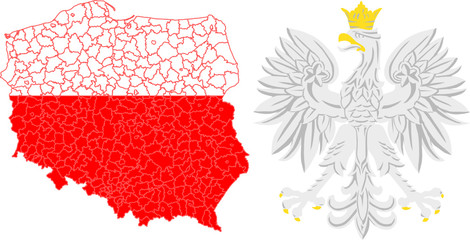 powiaty i godło Polski