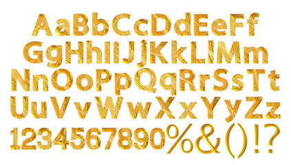 3D gold alphabet letters and digits on white background