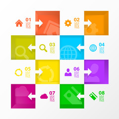 Square menu icons for infographic