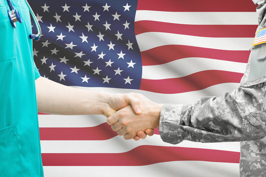 Soldier and doctor shaking hands - United States