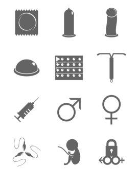 Contraception, man, woman, sex icons, vector