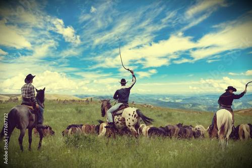 Wall mural Three cowboys drive herd of horses , toning, vignetting