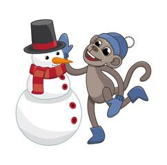 funny monkey sculpts snowman
