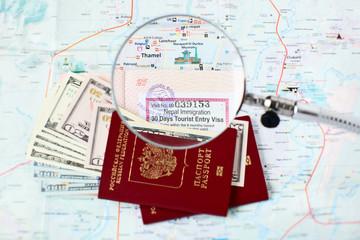 Russian passports and Kathmandu city map: Thamel
