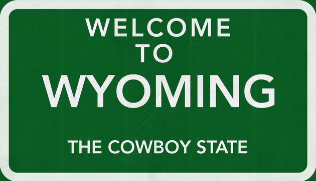 Welcome to Wyoming USA Road Sign