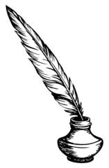 Quill pen in inkpot. Vector sketch